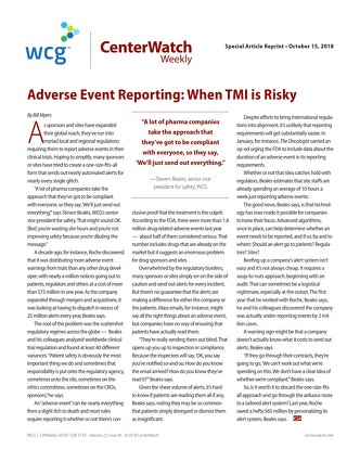 Adverse Event Reporting: When TMI is Risky