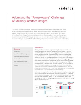 "Addressing the ""Power-Aware"" Challenges of Memory Interface Designs"