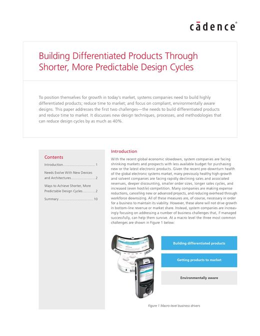 Building Differentiated Products Through Shorter, More Predictable Design Cycles White Paper