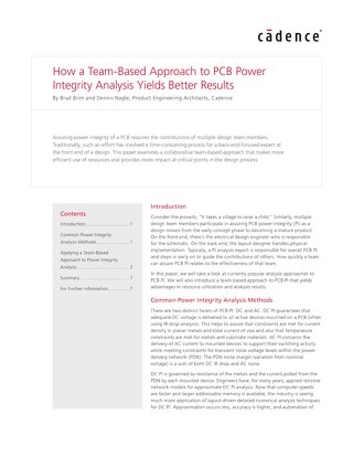 How a Team-Based Approach to PCB Power Integrity Analysis Yields Better Results White Paper