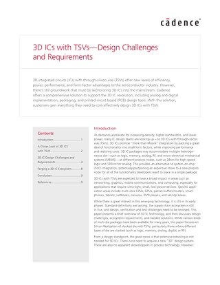 3D ICs with TSVs - Design Challenges and Requirements