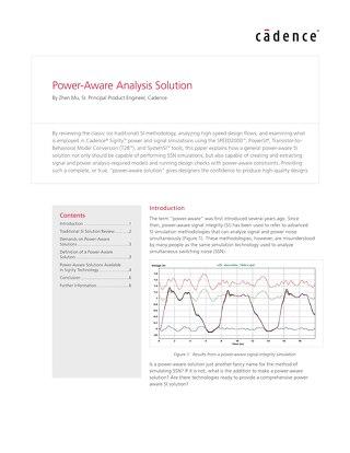 Power-Aware Analysis Solution