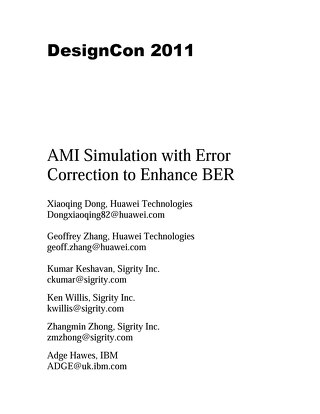 AMI Simulation with Error Correction to Enhance BER Conference Paper