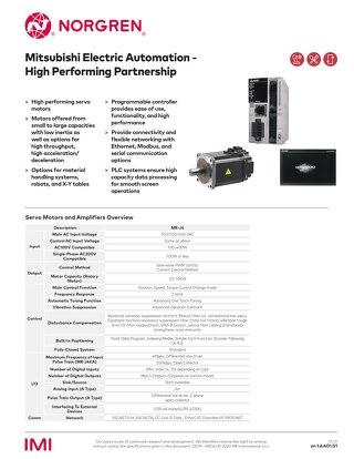 Mitsubishi Servo Motors Norgren Datasheet