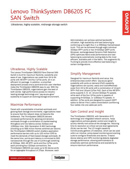 Lenovo ThinkSystem DB620S FC SAN Switch Datasheet