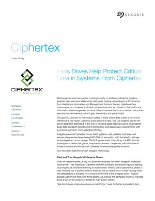 Exos Drives Help Protect Critical Data in Systems From Ciphertex