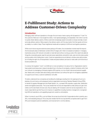 E-Fullfilment Study: Actions to Address Customer-Driven Complexity
