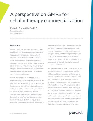 A Perspective on GMPS Cellular Therapy