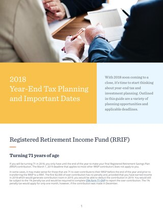 2018 Year-End Tax Planning and Important Dates
