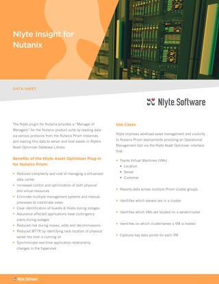 Nlyte Insight for Nutanix