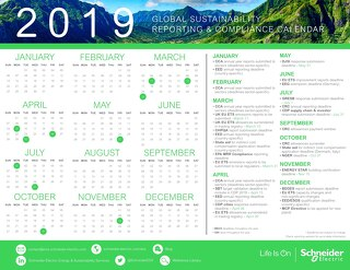 2019 Sustainability Reporting and Compliance Calendar