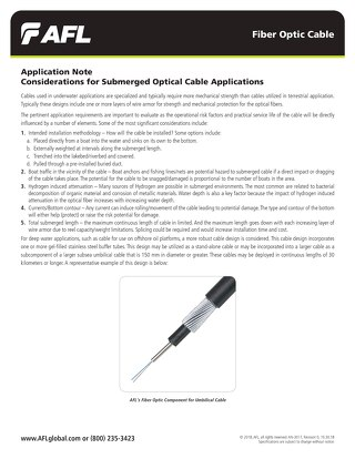 Considerations for Submerged Optical Cable Applications