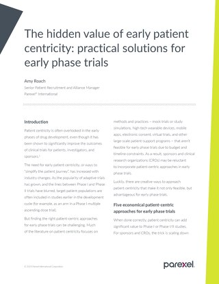Hidden Value of Patient Centricity in Early Phase Trials