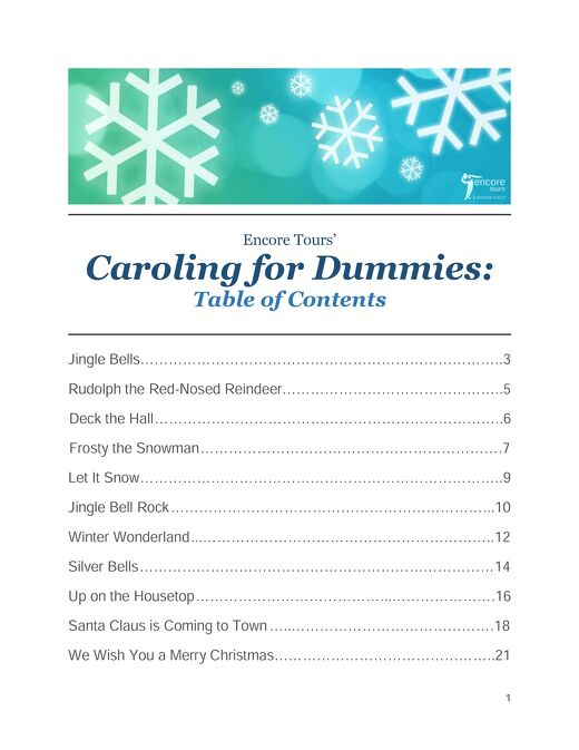 Encore Tours' Caroling for Dummies