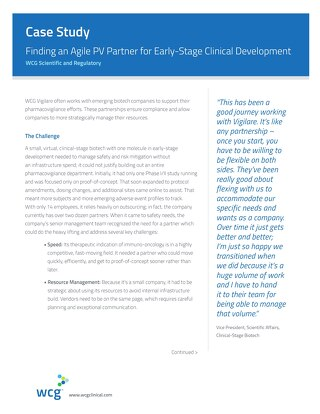 Finding an Agile PV Partner for Early-Stage Clinical Development