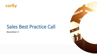 Sales Best Practice Call - December 3, 2018