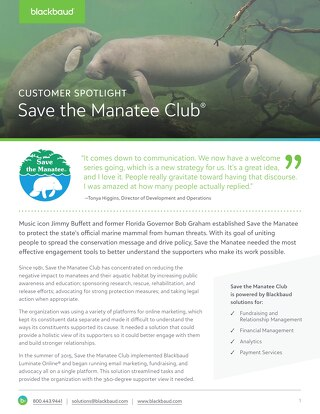 Save the Manatee - New Customer Story