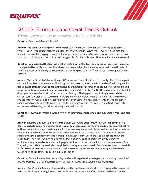 2018 Q4 2018 U.S. Economic and Credit Trends Outlook - FAQ