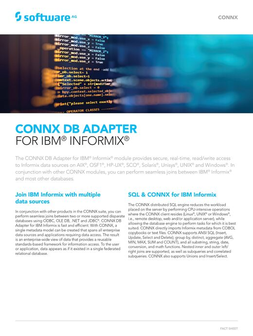 CONNX DB Adapter for IBM® Informix®