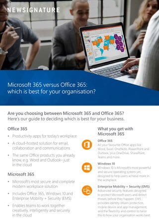 Microsoft 365 vs Office 365 Flyer 2018