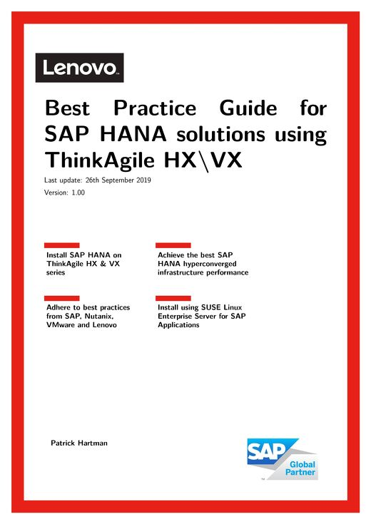Best Practices for the Lenovo ThinkAgile VX solution for SAP HANA
