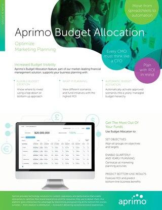 Aprimo Budget Allocation Data Sheet
