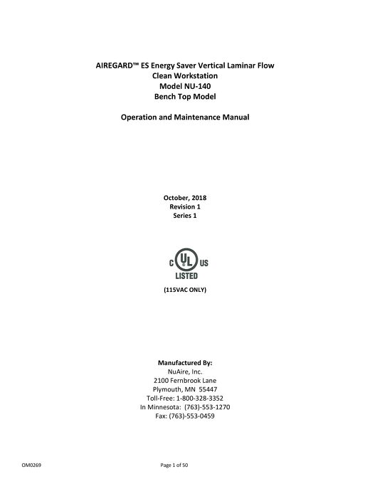 [Manual] AireGard NU-140 Vertical Laminar Airflow Workstation
