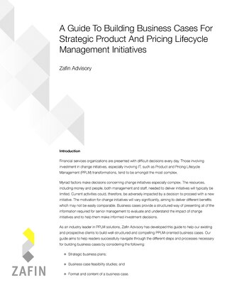 A Guide To Building Business Cases For Strategic Product And Pricing Lifecycle Management Initiatives