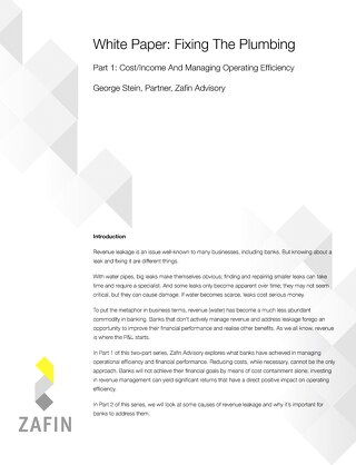 Fixing The Plumbing - Part 1: Cost/Income And Managing Operating Efficiency