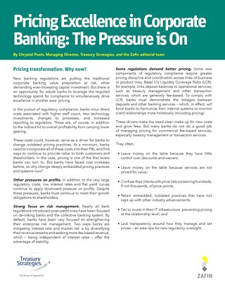 Pricing Excellence in Corporate Banking - Treasury Strategies and Zafin
