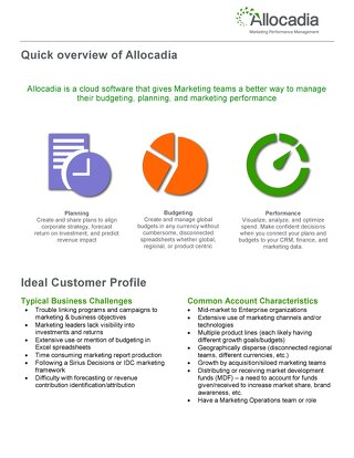 1 Page Allocadia Overview