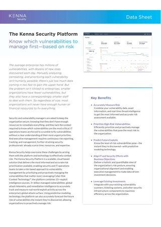 Kenna Security Platform Data Sheet