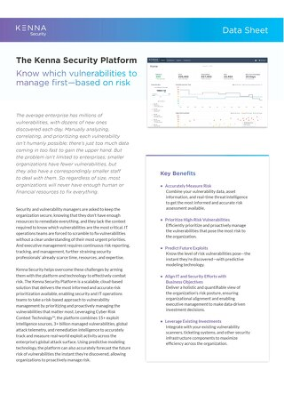 The Kenna Security Platform Data Sheet