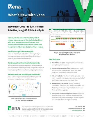 Vena Product Release: Ad Hoc Data Analysis