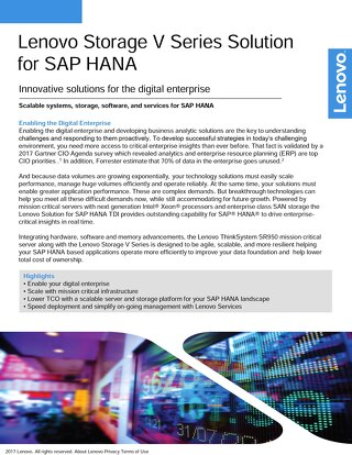 Lenovo Storage V Series Solution for SAP HANA