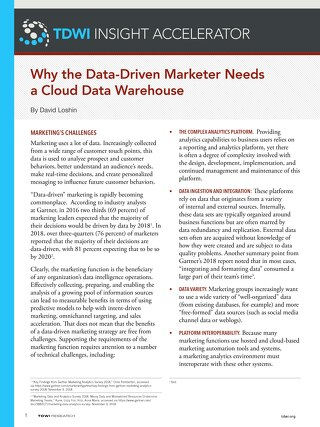 TDWI: Why the Data-Driven Marketer Needs a Cloud Data Warehouse