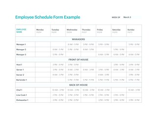 Employee Schedule Form FILLABLE