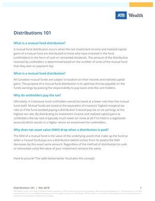 Distributions 101