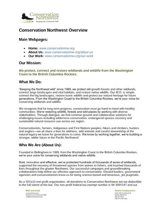 Conservation Northwest Overview Description_2018