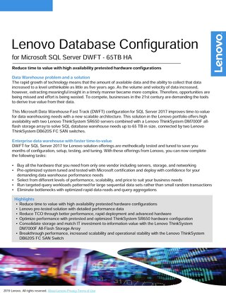 Lenovo HA DB Configuration for Microsoft SQL Server DWFT - 65TB