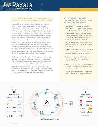 Paxata Adaptive Information Platform Solution Brief