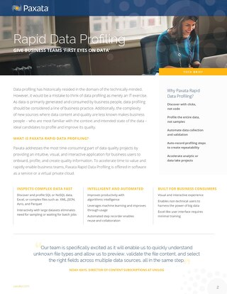 Paxata Rapid Data Profiling Technical Brief
