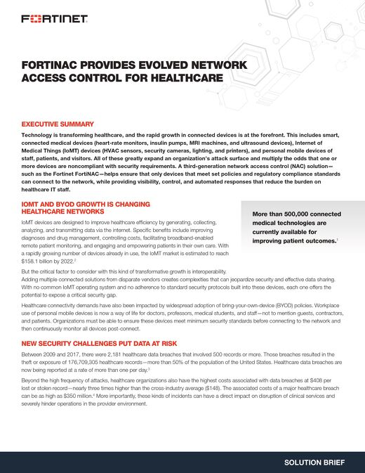 FortiNAC Provides Evolved Network Access Control For Healthcare