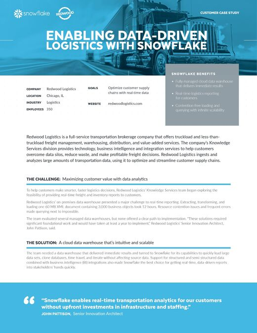Enabling Data-Driven Logistics with Snowflake