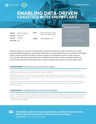 Redwood Logistics: Enabling Data-Driven Logistics with Snowflake