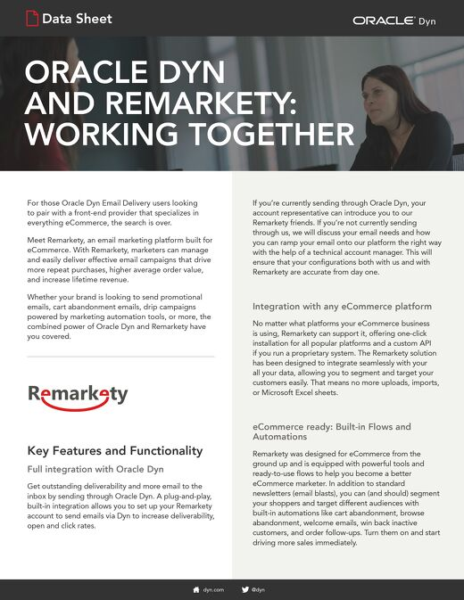 Oracle Dyn and Remarkety: Working Together