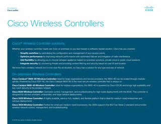 Cisco Wireless Controllers At-a-Glance