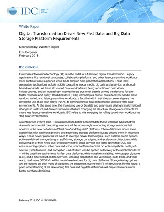 Digital Transformation Drives New Fast Data & Big Data Storage Platform Requirements