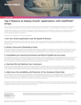 Top 5 Reasons to Deploy Oracle with IntelliFlash