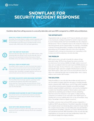 Snowflake for Security Incident Response
